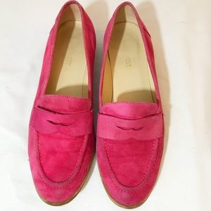 Nine West pink suede penny loafers size 8.5